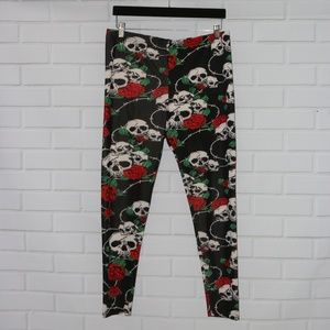 Pants - Banned Apparel Sz XXL Black Red Skull Roses Gothic